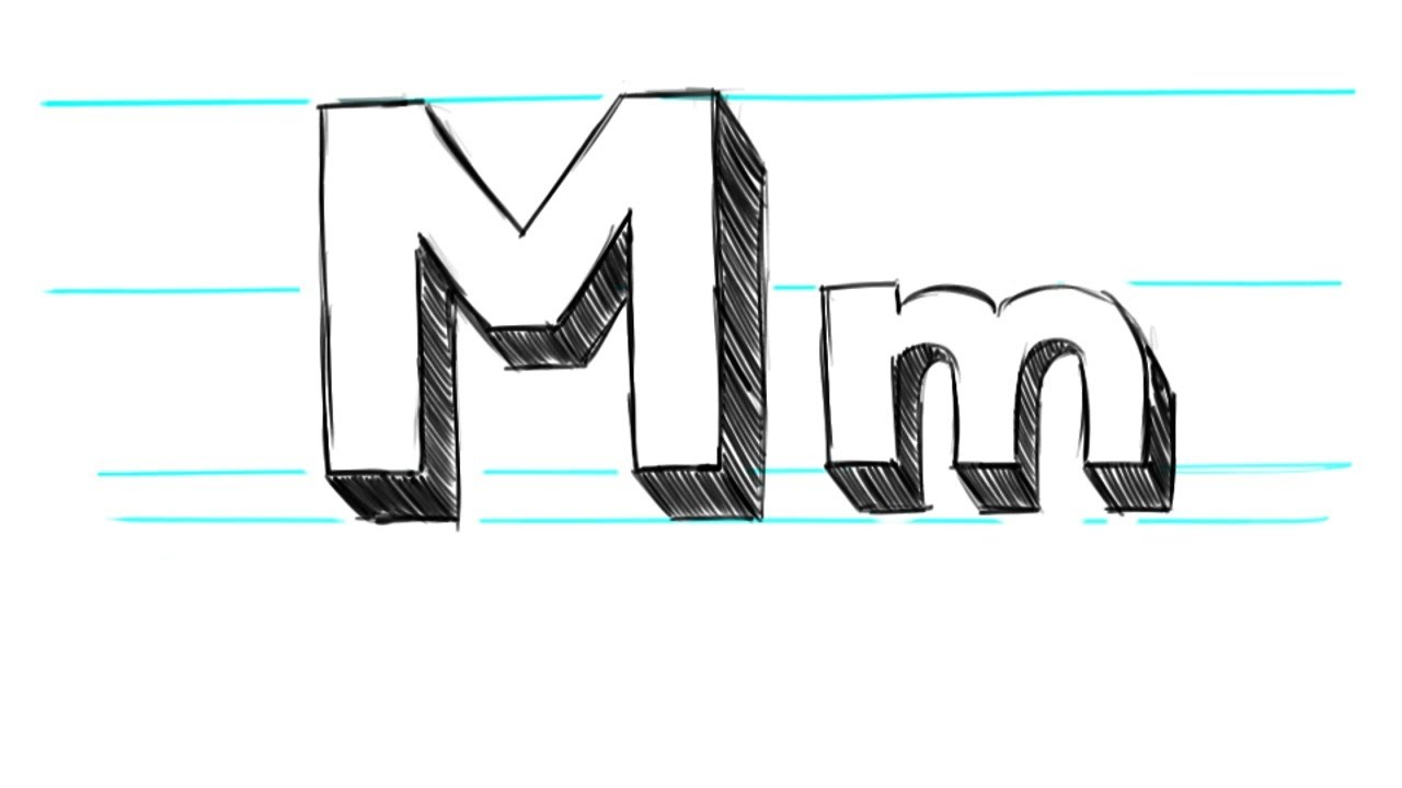 how to draw 3d letters m uppercase m and lowercase m in 90 seconds youtube