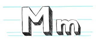 How to Draw 3D Letters M - Uppercase M and Lowercase m in 90 Seconds