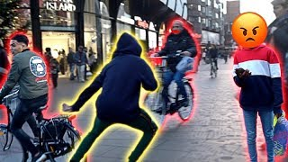 ANGRY BIKER ALMOST HITS ME!   *JUKING OUT STRANGERS*