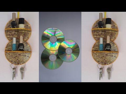 DIY: Waste  CD Craft!!! How to Make Makeup Organizer &Key Holder With Old CD/DVD!!!
