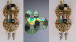 DIY: Waste  CD Craft!!! How to Make Makeup Organizer &Key Holder With Old CD/DVD!!!