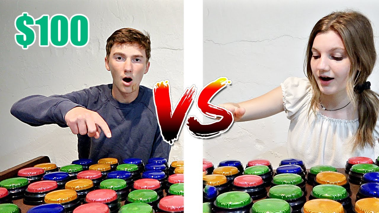 100 TRICK SHOT BUTTONS....Who Can Find The $100 BUTTON first?! | Match Up