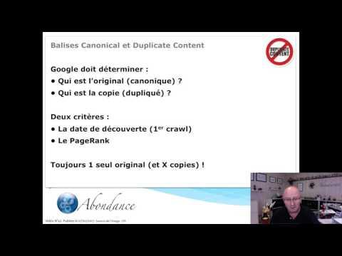 Balise Canonical et Duplicate Content. Vidéo SEO Abondance