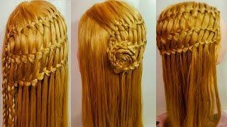Плетение прическа водопад тройной французский оригинальная коса цветок ажурный видео урок обучение