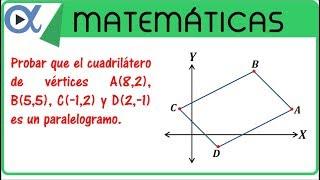 Probar que el cuadrilátero con vértices A, B, C y D es un paralelogramo | Geometría analítica-Vitual