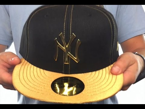 d69ea396fea Yankees  GOLD METAL-BADGE  Black-Gold Fitted Hat by New Era - YouTube
