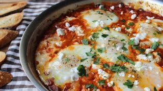 Shakshuka - Eggs Poached in Spicy Tomato Pepper Sauce