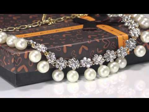 White Pearl Wedding Jewelry Set Bridal Necklace Earring Set