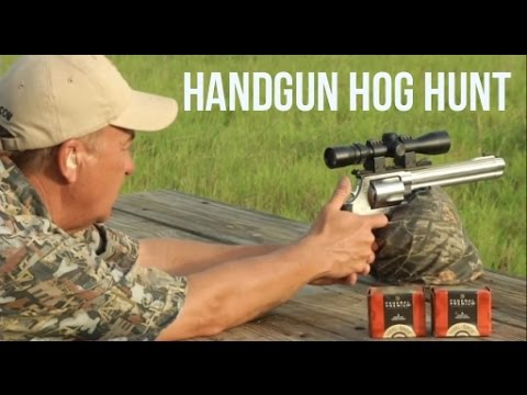 50 cal Smith & Wesson takes out huge feral hog