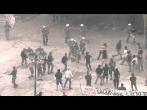 Greek protests erupt into violence as rioters flood the streets of Athens