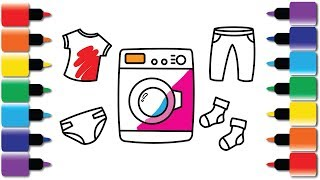How to Draw Washing machine, T-shirts, socks, pants, nappy | Drawing and Colouring video fun