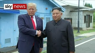 President Trump crosses into the DMZ meet Kim Jong Un