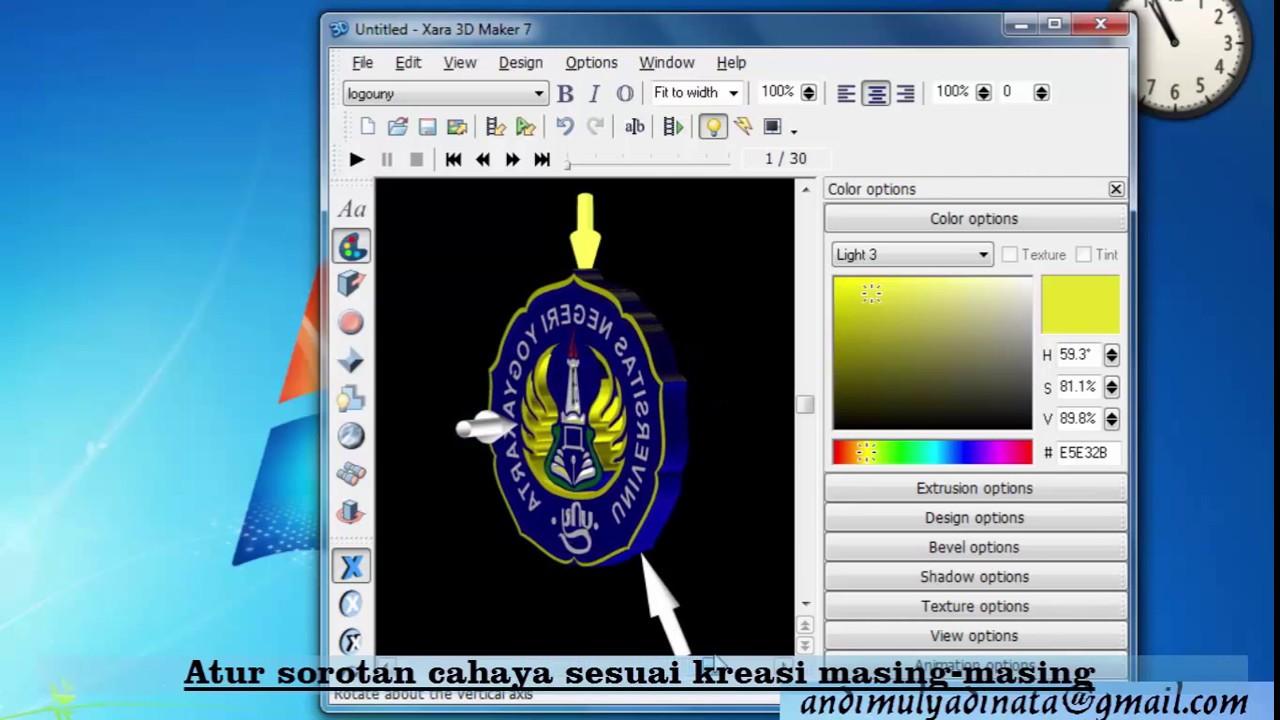 Membuat Animasi Logo 3D Berputar dengan Font Creator, Xara 3D Maker ...