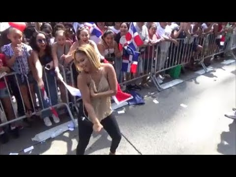KAT DELUNA SINGS, DANCES, PERFORMS AT DOMINICAN DAY PARADE 2017 NEW YORK AT UNIVISION 41 TV TRUCK