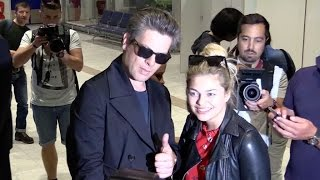 Louane and Benjamin Biolay arriving together at Cannes airport for the festival