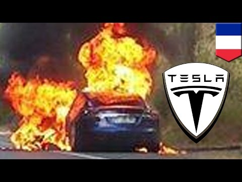Tesla Model S bursts into flames during test drive event in France - TomoNews