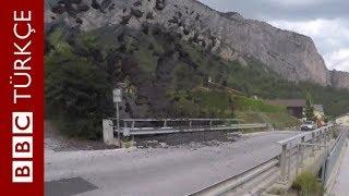 İsviçre'de 'çamur nehri' bariyerlere çarpıp yanardağ gibi patladı