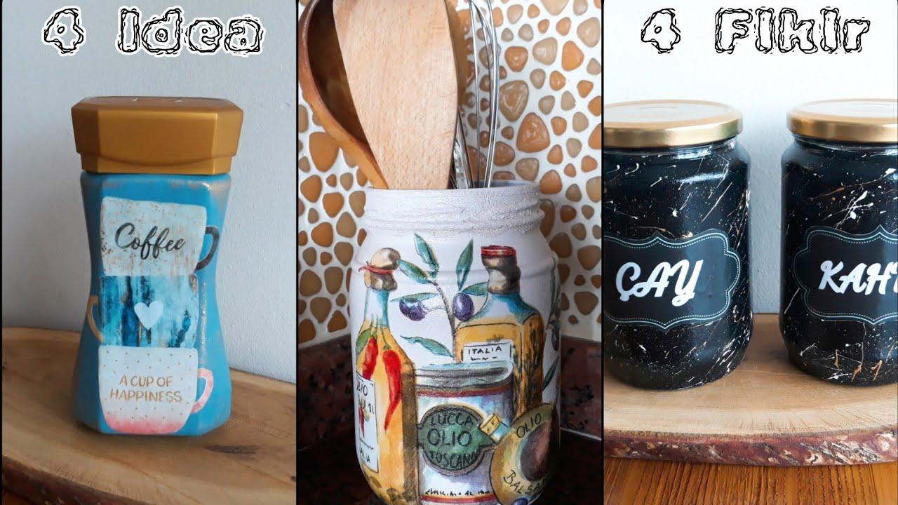 Mutfağınıza Renk Katın 2   4 Muhteşem Kavanoz Boyama Fikri   Mutfak Dekorasyonu
