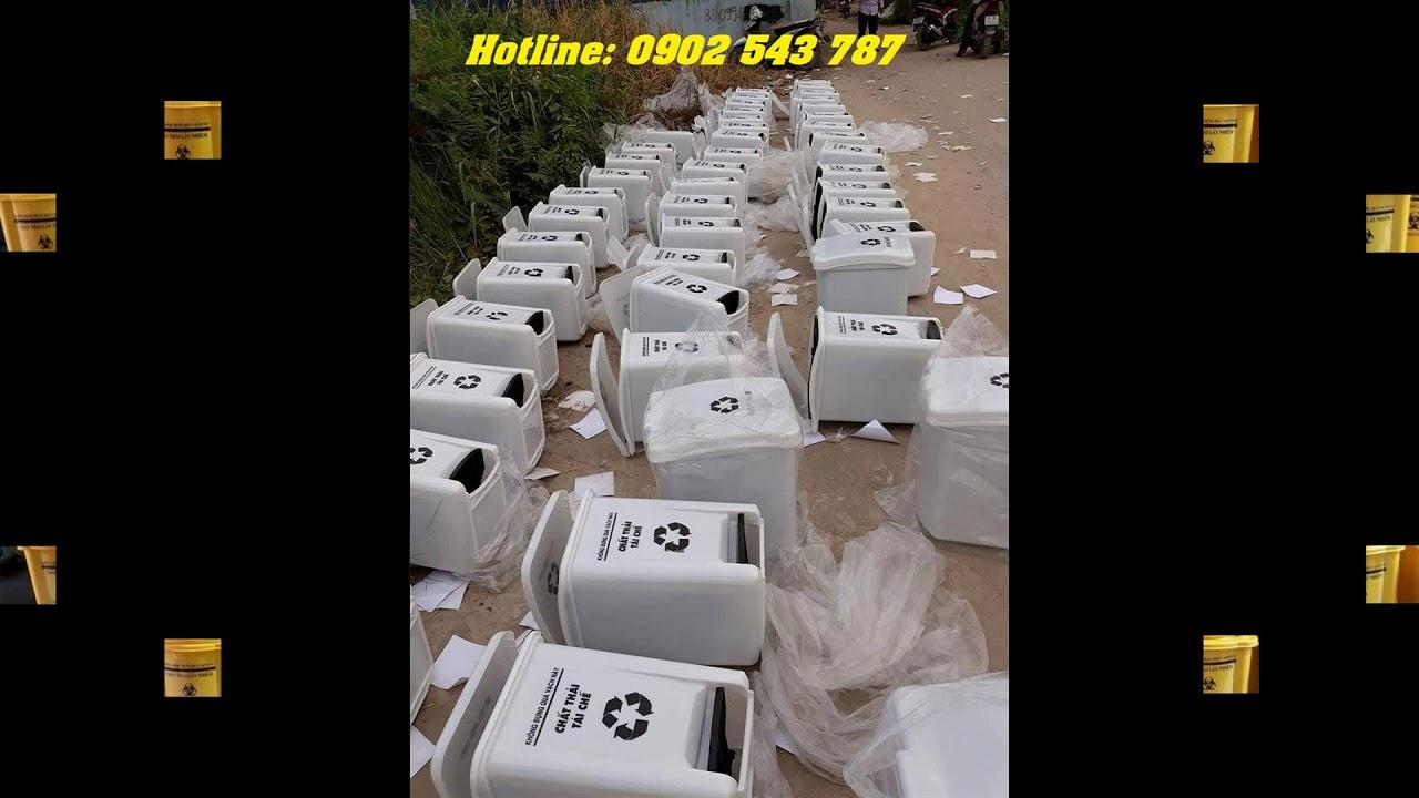 Thùng rác y tế, thùng rác y tế 20 lít, thùng rác y tế đạp chân 20 lít - 0902 543 787 - YouTube