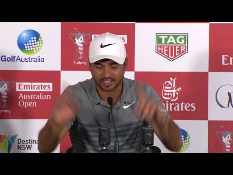 Jason Day chats on Wednesday before 2017 Emirates Australian Open