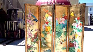 4 Pieces/set Chinese Wooden Double Sides Painted Room Divider Wk1866