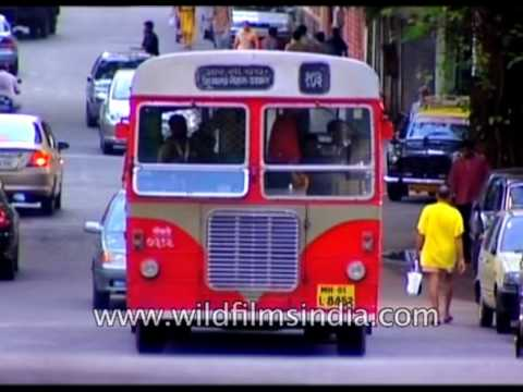 Vintage Bus traffic on Mumbai roads : Archival  footage