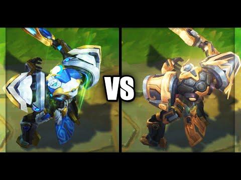 Mecha Kingdoms Garen vs Prestige Mecha Kingdoms Garen Skins Comparison (League of Legends)