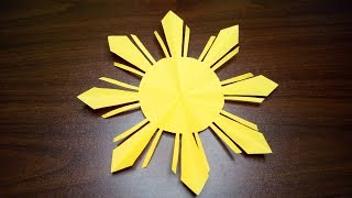 HOW TO CUT A BEAUTIFUL SUN WITHOUT A PATTERN - HOW TO MAKE A PHILIPPINE FLAG - AN EIGHT-RAY SUN
