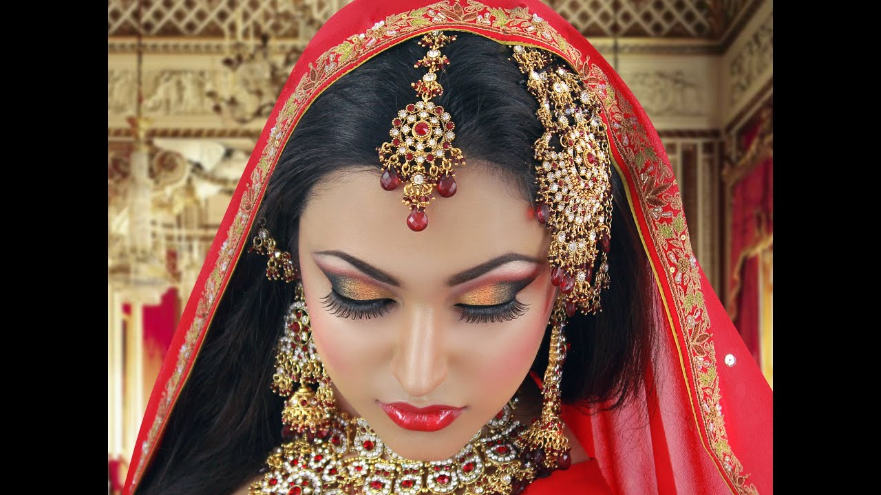 Traditional Bridal Makeup Looks : Red and Gold Traditional Bridal Tutorial Indian Arabic ...