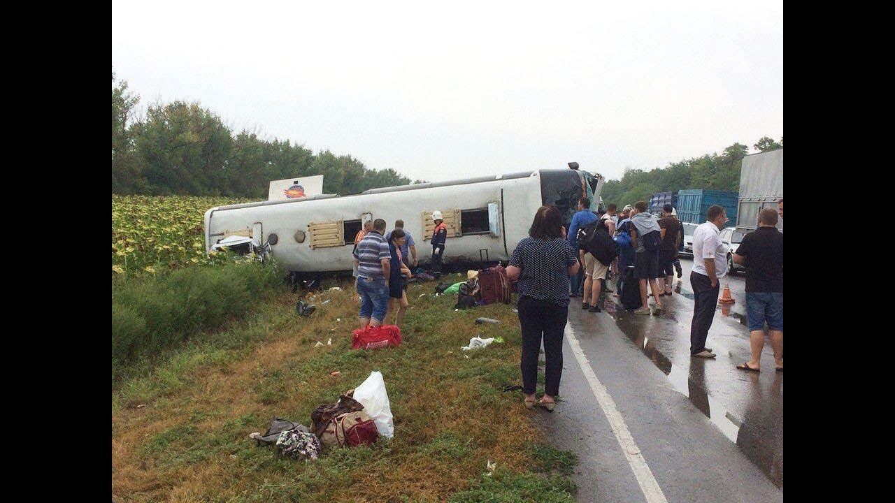 Ставропольский автобус перевернулся в Ростовской области