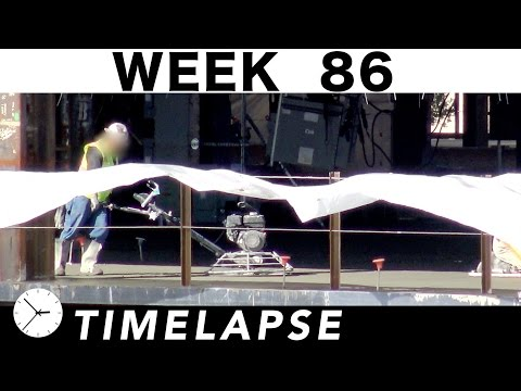 One-week construction time-lapse with 28 closeups: Week 86: Concrete, welders, cranes, more