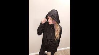 Elover Casual Lightweight Rain Jacket Zipper Outwear Hooded Raincoat