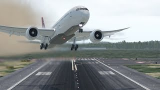 B787 Plane Go-Around on Very hard Crosswind Landing | X-Plane 11