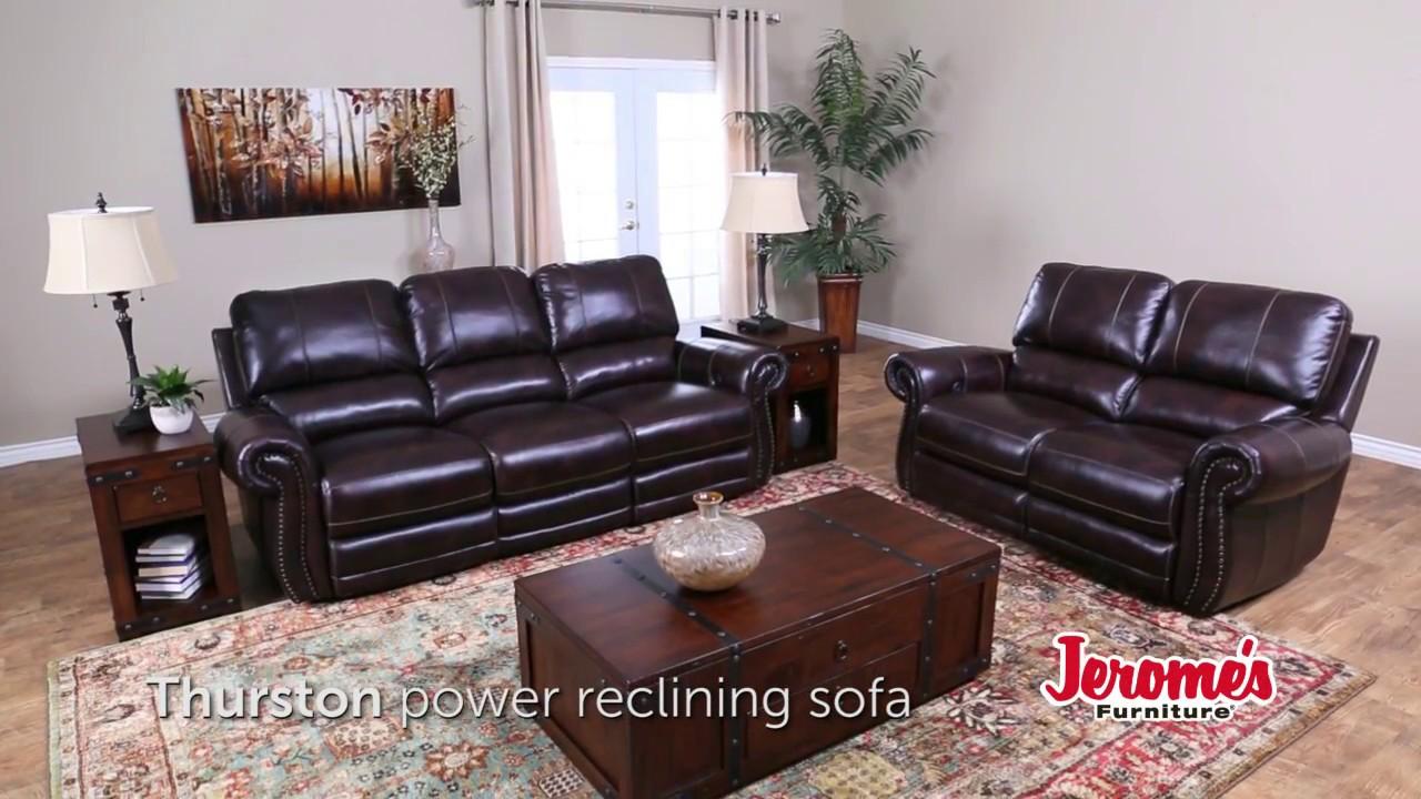 Jerome S Furniture Thurston Leather Reclining Sofa Youtube