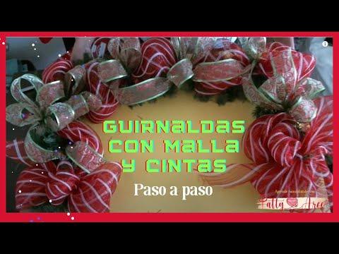 Como hacer guirnaldas navide a con malla youtube for Guirnaldas para puertas navidenas
