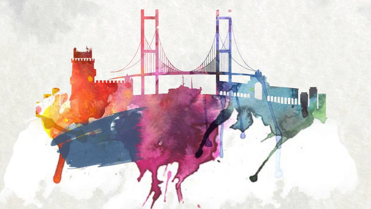 lisbon skyline watercolor animation