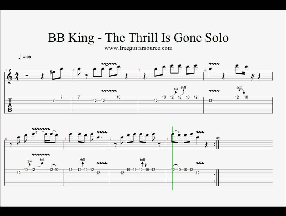 Bb King The Thrill Is Gone Solo Guitar Lesson Youtube