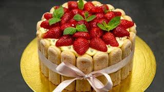 Клубничный ТОРТ БЕЗ ВЫПЕЧКИ Тирамису с клубникой Strawberry CAKE NO BAKING
