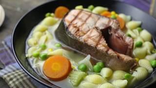 Как приготовить овощной суп с ракушками и кетой   Простой рецепт