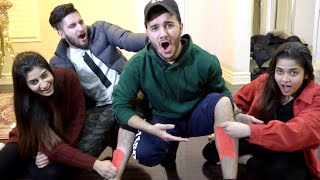 WAXING OUR LEGS CHALLENGE! (PAINFUL)