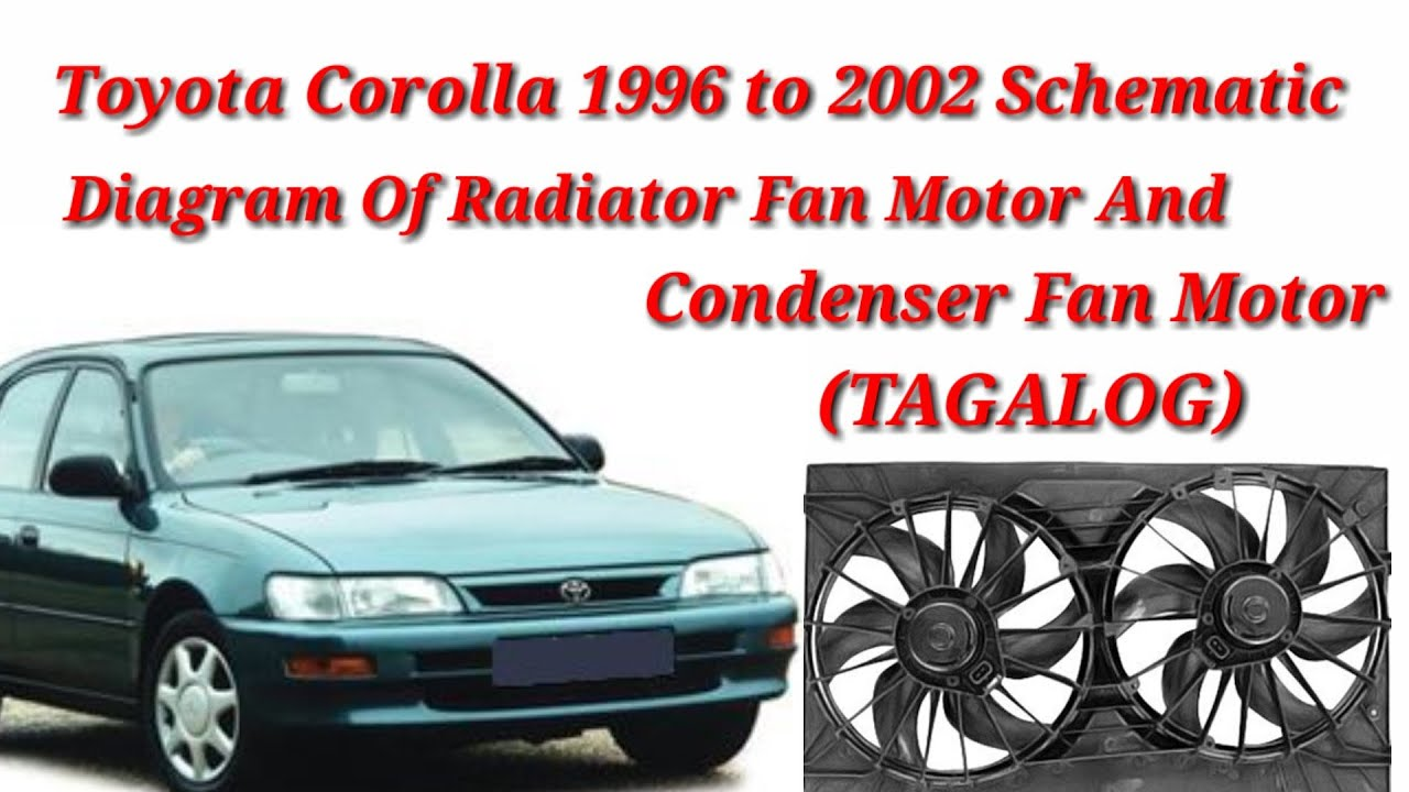 Toyota Corolla 1996 To 2002 Radiator Fan Motor And Condenser Fan Motor Schematic Diagram Tagalog Youtube