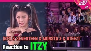 [Reaction Cam] BTS & ATEEZ & MONSTA X & SEVENTEEN Reaction to ITZY(있지) l 2019MAMA x M2