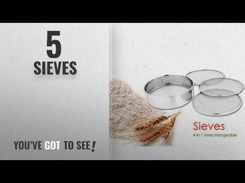 Top 10 Sieves [2018]: Ajuss Stainless Steel Interchangeable Sieve Set, Set of 5, Silver
