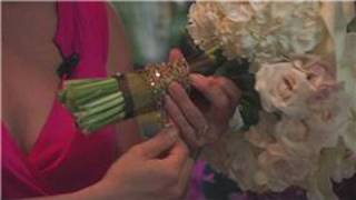 Wedding Floral Arrangements : How to Wrap Flower Arrangements With Ribbon
