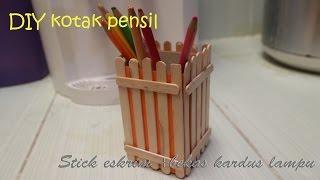 Diy cara membuat tempat pensil dari stick es krim