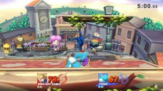 Online / With Friends / Smash Town and City Zero Suit Samus, Yoshi.