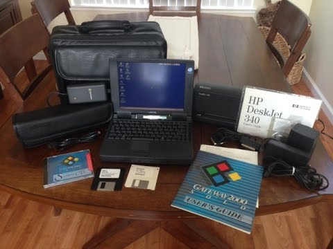 Vintage 1995 Gateway 2000 Solo Laptop and HP Deskjet Portable Printer