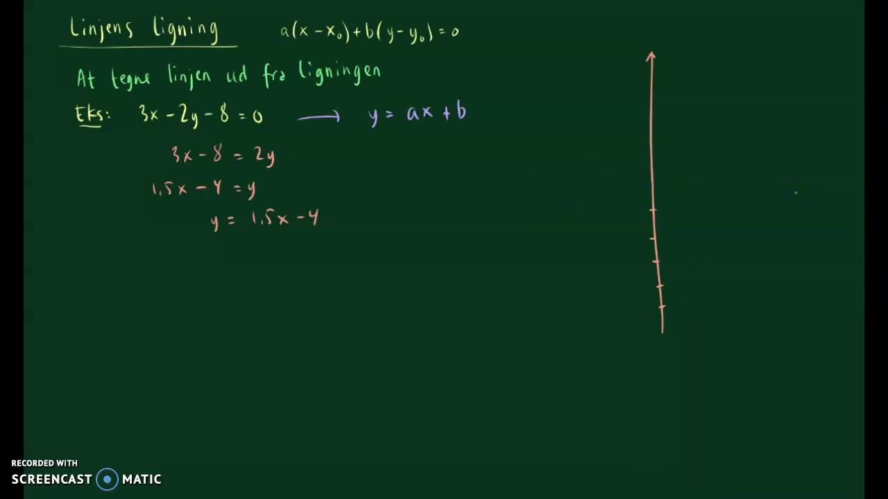 Tegne linje ud fra ligning