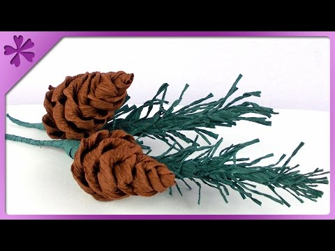DIY Tissue paper pine cone (ENG Subtitles) - Speed up #139