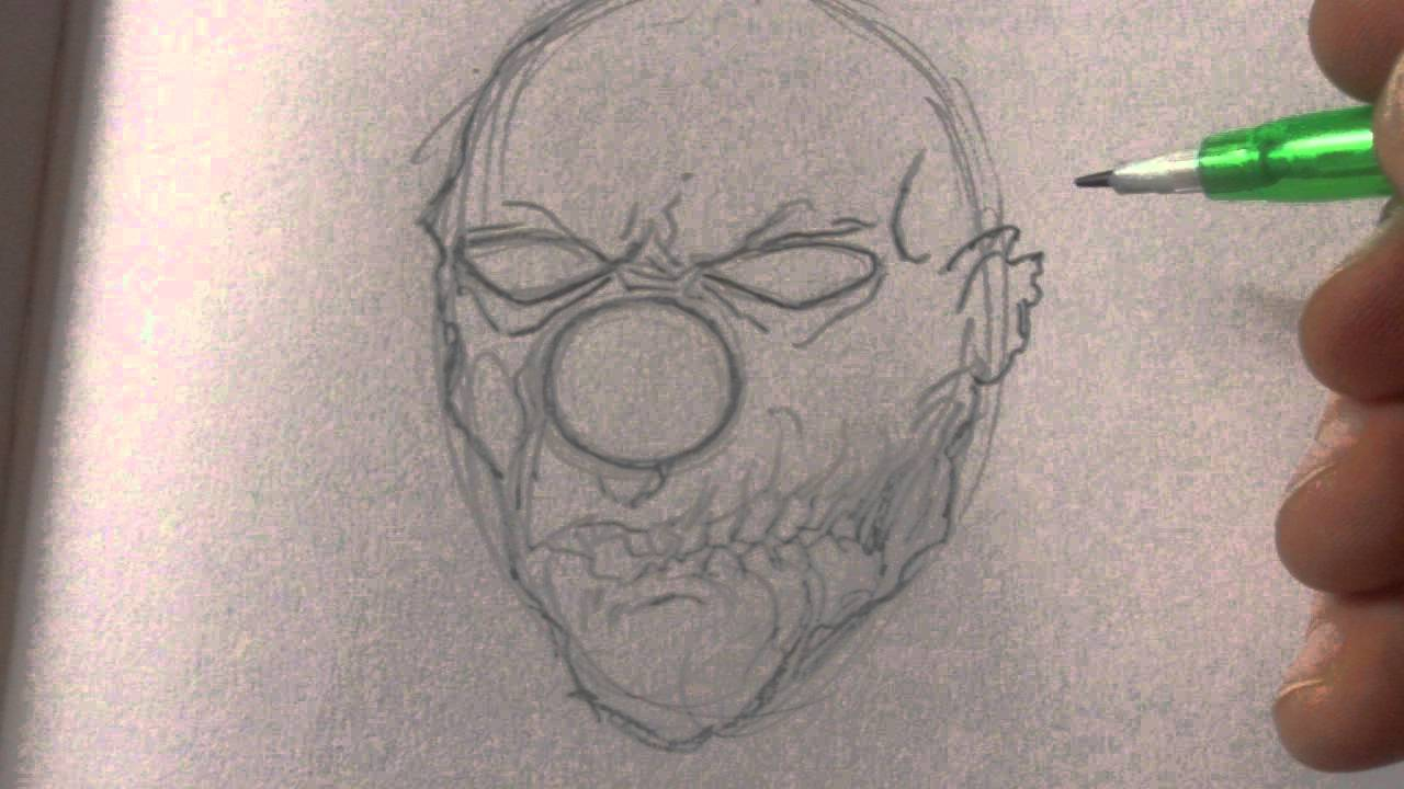 Zombie Face Line Drawing : How to draw a zombie clown head youtube